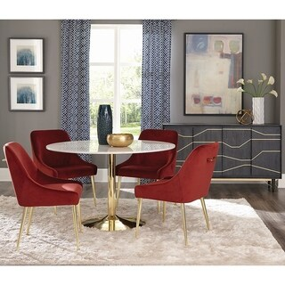 Marble and Brass Round Dining Set with Red Velvet Chairs and Matching Buffet Server