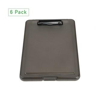 Mind Reader Clipboard Storage, Plastic Letter Storage, Bottom Opening Storage, Low Profile Clip, School, Office,Pack of 6,Black