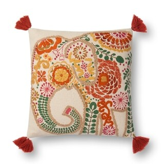 Embroidered Orange/ Ivory Multi Elephant 18-inch Cotton Pillow Cover