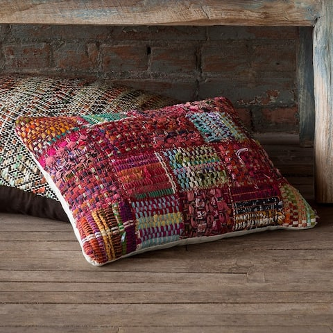 Woven Red Multi Patchwork Wool/ Cotton 13 x 21 Pillow Cover