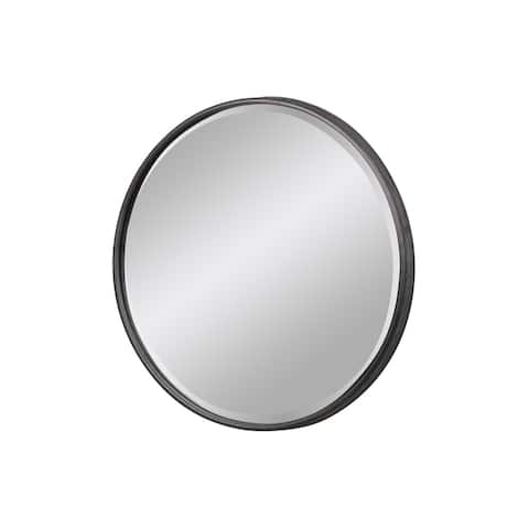 Urban Trends Metal Round Decorative Wall Mirror with Keyhole Hanger in Tarnished Finish, Large - Gray - Grey
