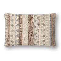 Embroidered Natural/ Grey Geometric Boho 13 x 21 Cotton Pillow Cover