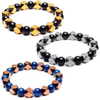 Hematite and Onyx Stone Beaded Bracelet (10mm) - Black