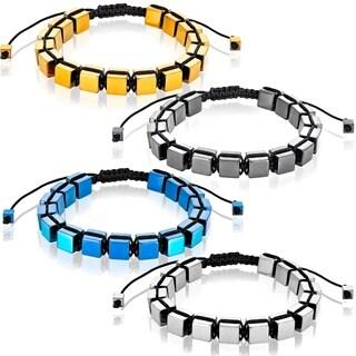 Color Plated Hematite Cube Stone Adjustable Bracelet (8mm)