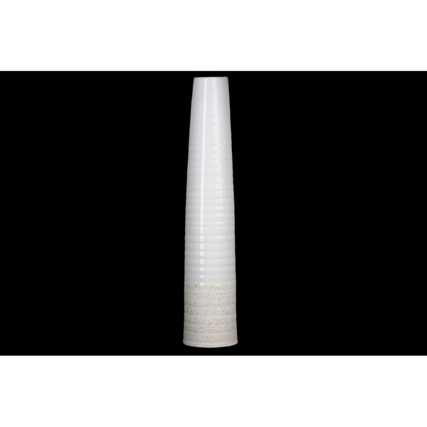 """Urban Trends Collection: Stoneware Vase Gloss Rough Finish White 23.25"""""""