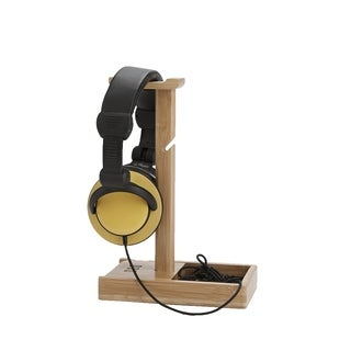 Mind Reader Bamboo Head Set Stand with Power Chord, Earphone Mount, 3 USB Charging Power Strip, Headphone Hanger Rest, Brown