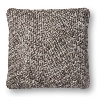 Cross Woven Grey Wool 22-inch Pillow Cover