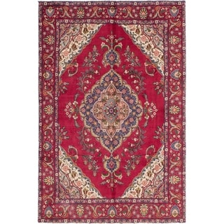 Hand Knotted Tabriz Semi Antique Wool Area Rug - 6' 4 x 9' 6