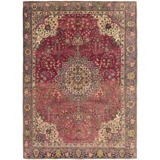 Hand Knotted Tabriz Semi Antique Wool Area Rug - 7' 10 x 10' 10