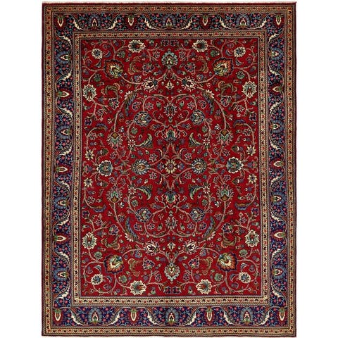 Hand Knotted Tabriz Wool Area Rug - 9' 10 x 13'