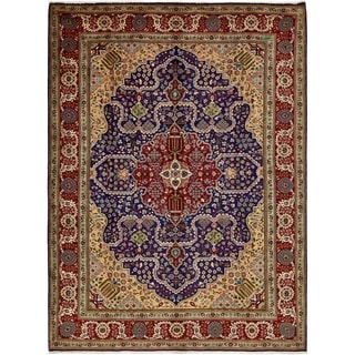 Hand Knotted Tabriz Semi Antique Wool Area Rug - 9' 8 x 13'