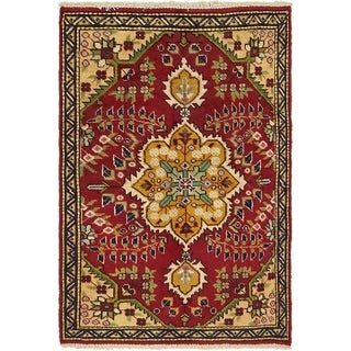 Hand Knotted Tabriz Wool Area Rug - 3' 3 x 4' 8