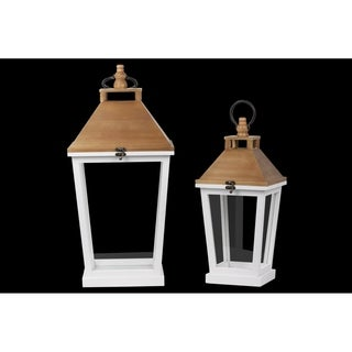 Urban Trends Wood Square Lantern with Natural Wood Top and Tapered Bottom Design Body in Painted Finish, White - Set of 2