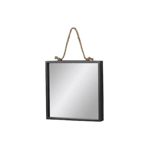 Urban Trends Metal Square Decorative Wall Mirror with Rope Hanger in Tarnished Finish - Gray - Grey
