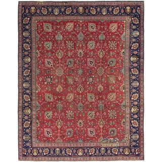 Hand Knotted Tabriz Semi Antique Wool Area Rug - 9' 10 x 12' 8