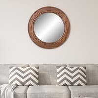 Patton Wall Decor Reclaimed Wood Large Round Wall Accent Mirror
