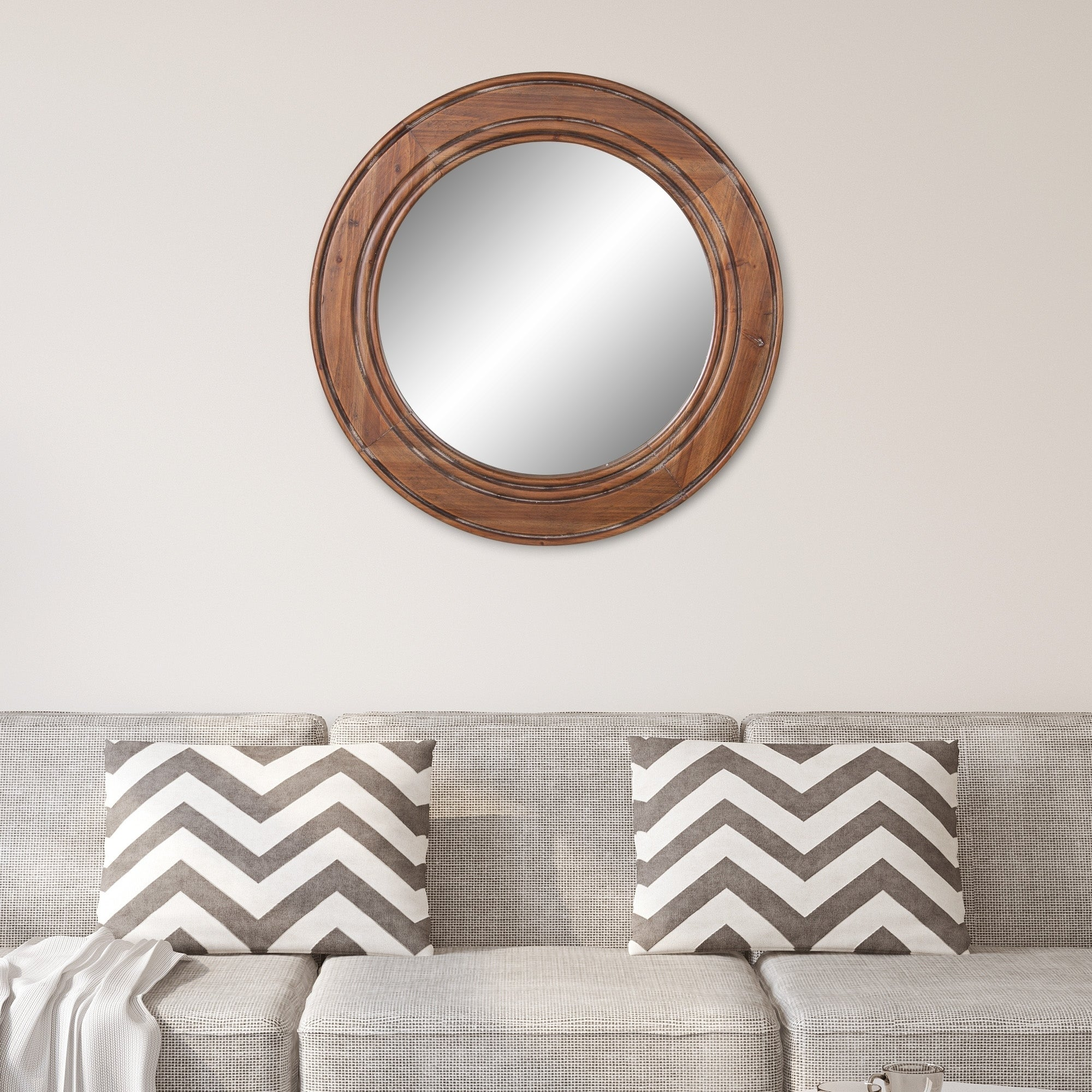 Patton Wall Decor Reclaimed Wood Large Round Wall Accent Mirror On Sale Overstock 24109438