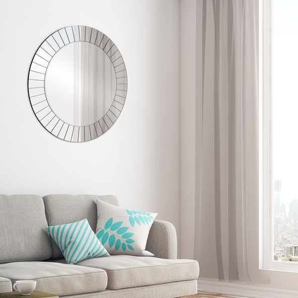 Gallery Solutions Frameless Beveled Round Wall Mirror
