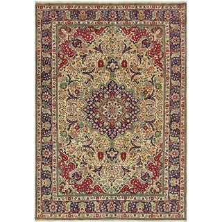 Hand Knotted Tabriz Wool Area Rug - 6' 6 x 9' 7