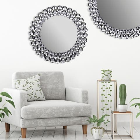 Gallery Solutions Silver Round Jeweled Wall Mirror