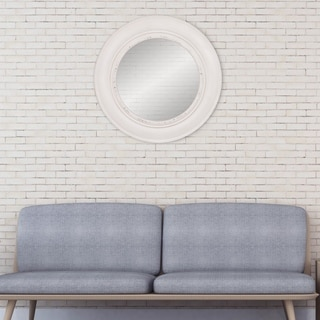 "Patton Wall Decor 30"" Distressed White Round Port Hole Wall Mirror"