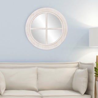 Distressed White Rustic Round Framed Window Pane Wall Accent Mirror