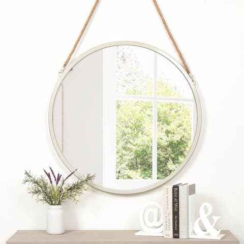 Round Metal White Wall Mirror with Rustic Hanging Rope