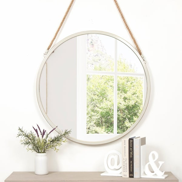 Shop Round Metal White Wall Mirror With Rustic Hanging