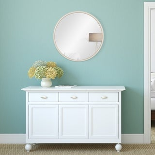 Patton Wall Distressed White Metal Framed Round Wall Mirror