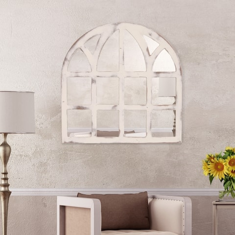 Distressed White Farmhouse Cathedral Windowpane 28-inch x 28-inch White Wall Mirror