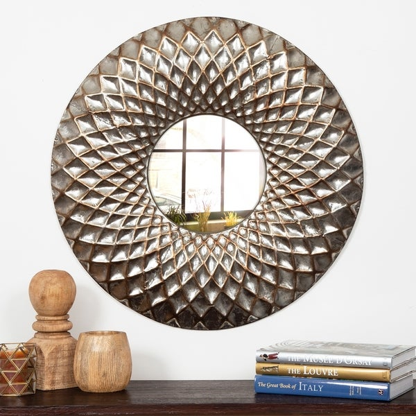 Gallery Solutions Silvertone Metal 31.8-inch Hammered Lattice Round Wall Mirror