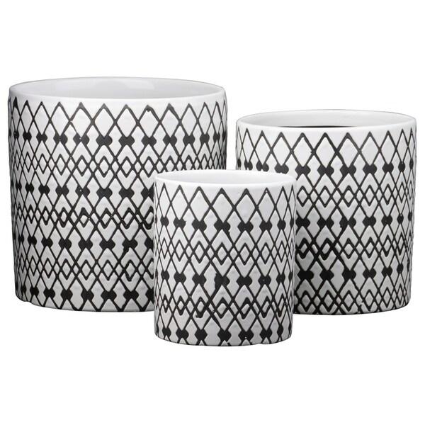 Urban Trends Ceramic Round Pot with Overlocking Diamonds Design Body and Bottom Drainage Hole in Gloss Finish, White - Set of 3