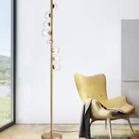 Scintillam Floor Lamp 8-Light Circular Clear Glass Globe Gold Finish (includes bulbs)