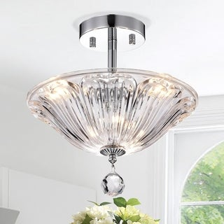 Orlo Glass 12-inch 3-Light Chrome Semi-Flushmount
