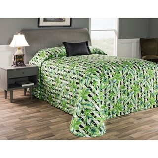 Laguna green tropical leaves on black stripe bedspread