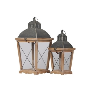 Urban Trends Wood Square Lantern with Metal Pierced Finial Top and Tapered Bottom in Natural Finish, Brown - Set of 2
