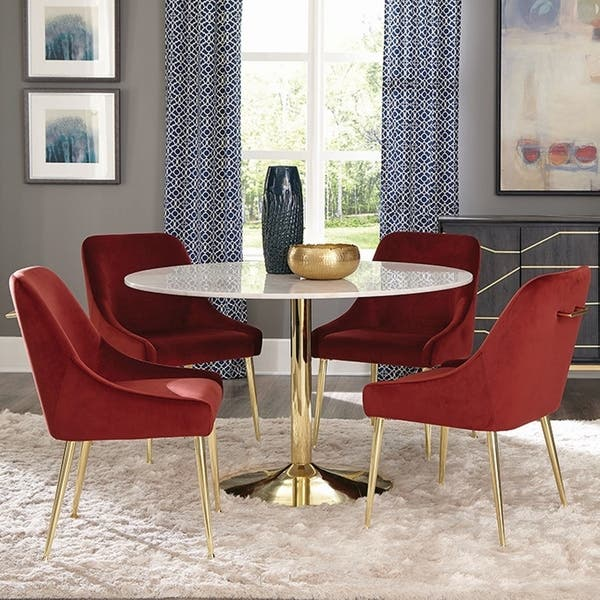 Stupendous Shop Marble And Brass 5 Piece Round Dining Set With Red Uwap Interior Chair Design Uwaporg