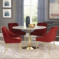 Marble and Brass 5-piece Round Dining Set with Red Velvet Chairs