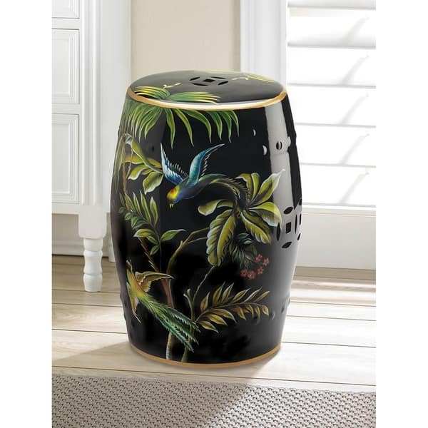 Admirable Paradise Humming Birds Round Ceramic Stool Gamerscity Chair Design For Home Gamerscityorg