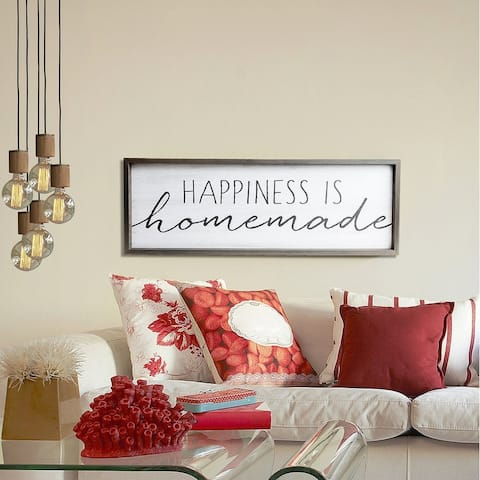Patton Wall Decor Happiness is Homemade Rustic Wood Framed Wall Art Décor, 12x36 - White