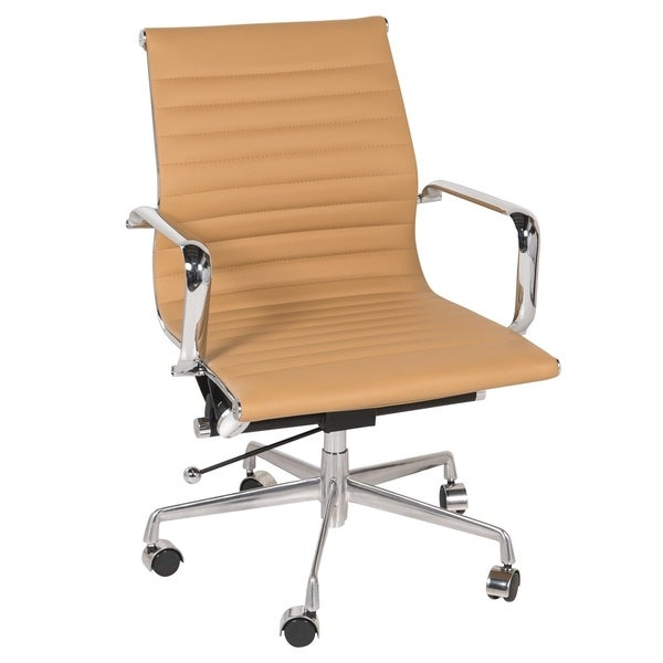 Mid-back Ribbed Brown Leather Office Chair