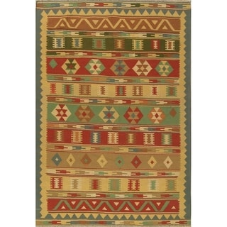 "Hand Woven Geometric Wool Tribal Kilim Shiraz Persian Carpet Area Rug - 9'9"" x 6'7"""