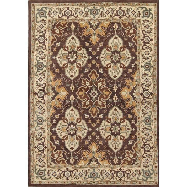 Shop Oushak Floral Tufted Wool Persian Oriental Area Rug: Shop Hand Tufted Wool Floral Indian Oriental Carpet Area