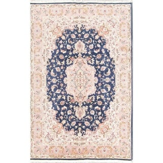 "Hand Knotted Wool Floral Tabriz Persian Area Rug For Dining Room - 9'8"" x 6'7"""