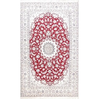 "Hand Knotted Wool and Silk Floral Red Nain Persian Carpet Area Rug - 10'1"" x 6'3"""