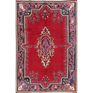 "Handmade Wool Geometric Medallion Shiraz Persian Area Rug - 9'8"" x 6'7"""