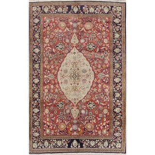"""Vintage Hand Knotted Wool Floral Tabriz Persian Carpet Area Rug - 9'11"""" x 6'5"""""""