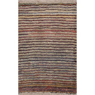 "Handmade 100% Wool Modern Gabbeh Shiraz Persian Striped Area Rug - 4'0"" x 2'9"""