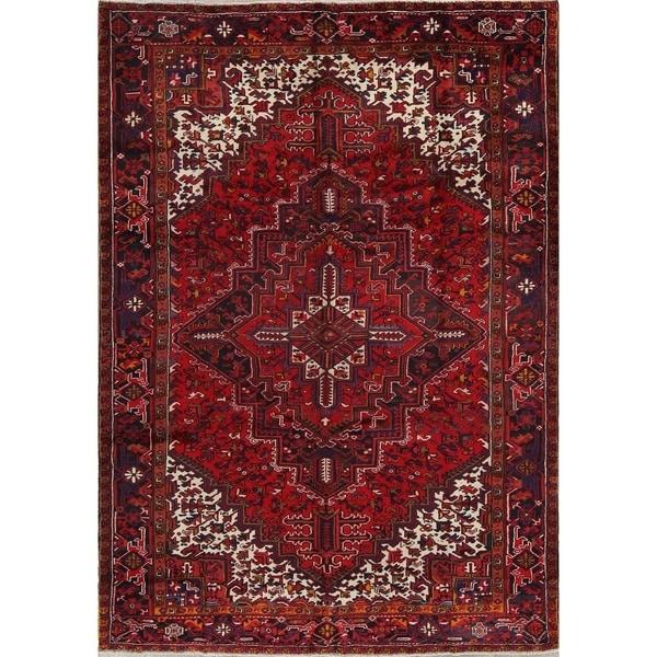 Vintage Persian Heriz Design Wool Area Rug: Shop Vintage Handmade Wool Oriental Heriz Persian Dining