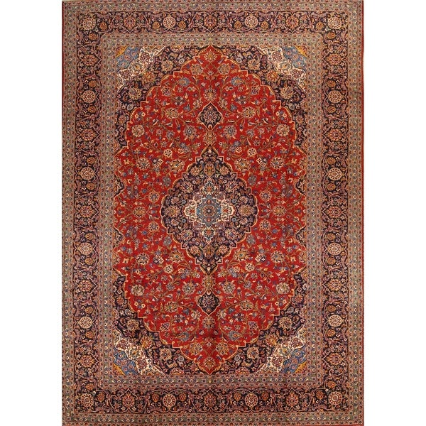 """Hand Knotted Floral Persian Vintage Woolen Medallion Area Rug - 14'1"""" x 9'11"""""""